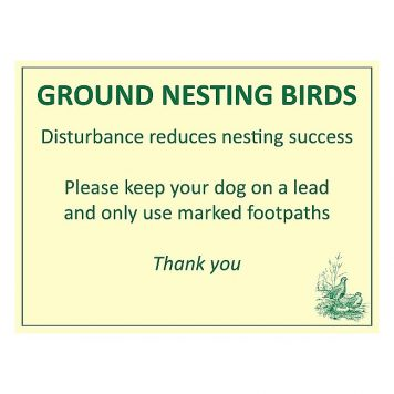 Ground nesting farmland birds warning sign