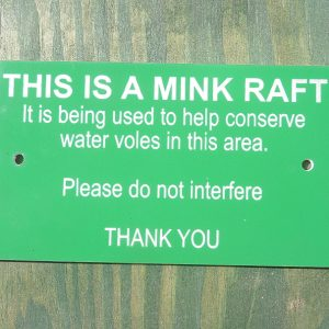 Information sign for mink rafts
