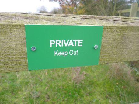 PRIVATE Keep out gate sign