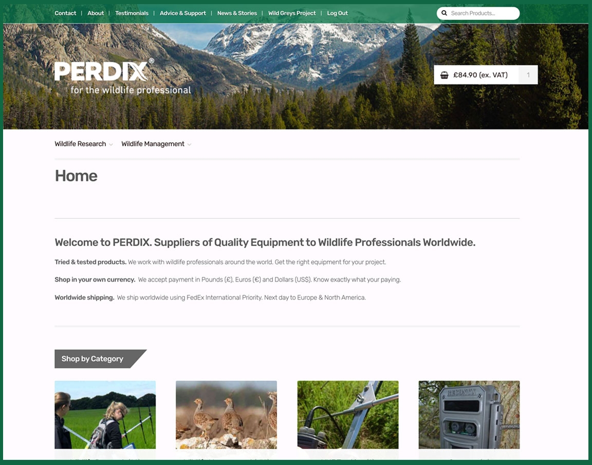 Perdix Wildlife Supplies Website