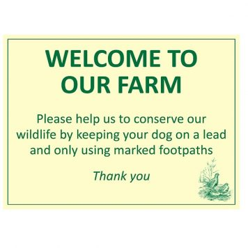 Welcome to our farm wildlife conservation sign