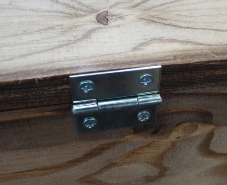 Zinc plated hinge on Perdix Squirrel Trapping Tunnel