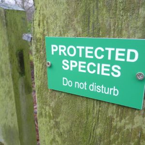Protected Species sign for gates and other access points