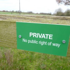 PRIVATE - No public right of way gate sign