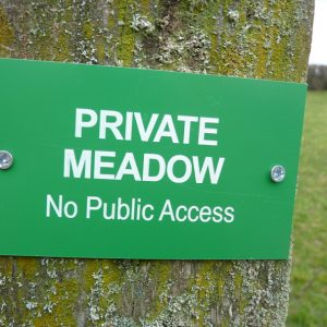 Private meadow - no public access warning sign